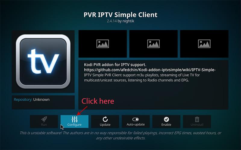 IPTV guide for Kodi