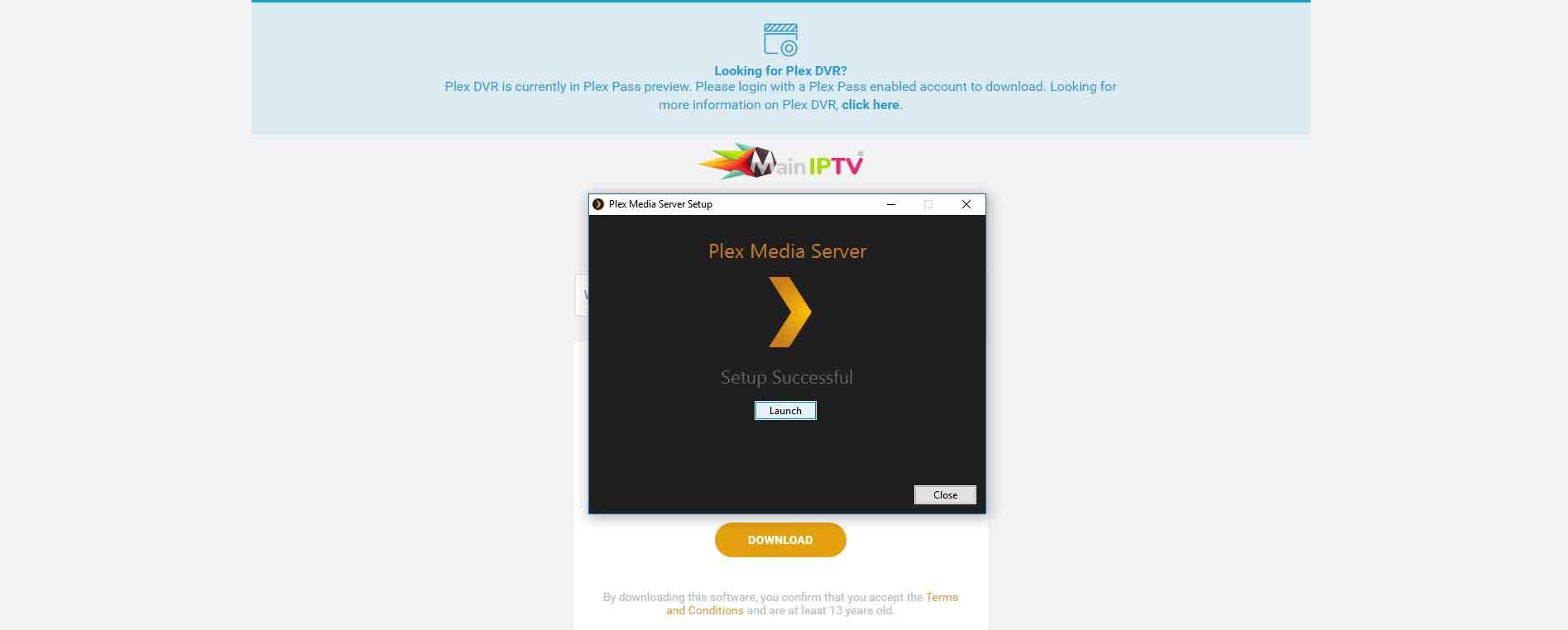 Plex launch page