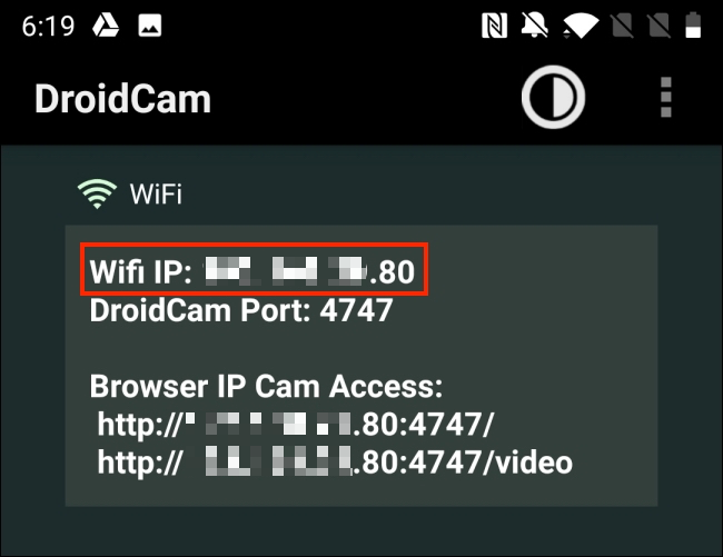 Copy the Wi-Fi IP from DroidCam Android app