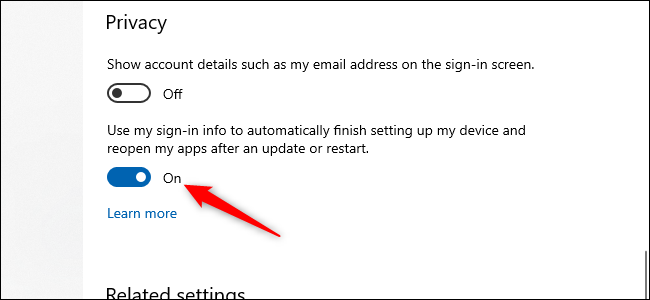 A windows 10 on/off slider button with a red arrow pointing towards it