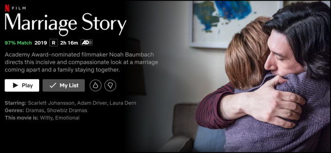"The ""Marriage Story"" page on Netflix."