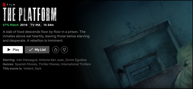 """The Platform"" watch page on Netflix."