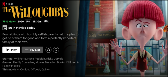 """The Willoughbys"" watch page on Netflix."