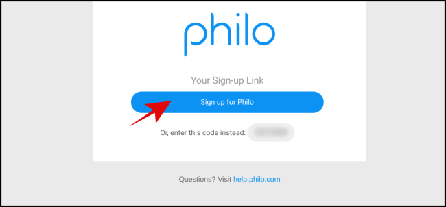 """Click """"Sign Up for Philo."""""""
