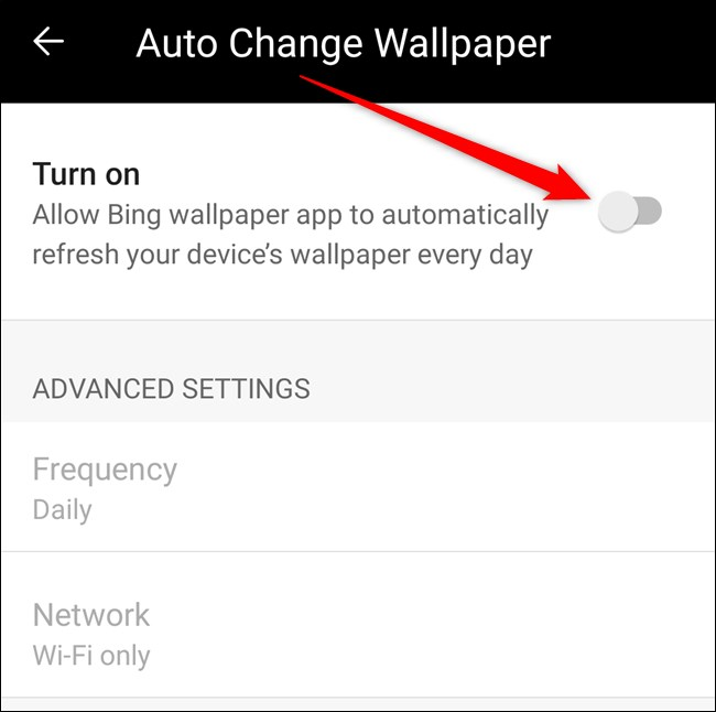 """Toggle on the """"Turn On"""" auto wallpapers feature."""