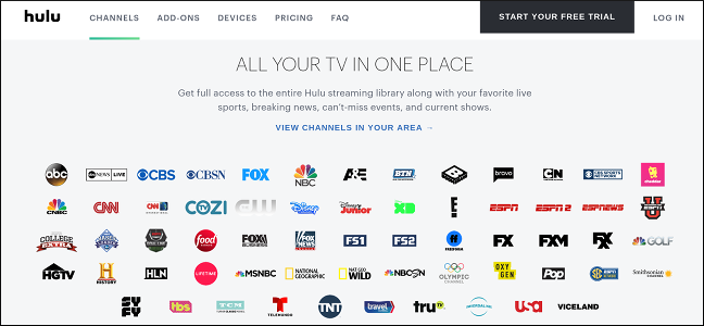 Hulu's Live TV Lineup