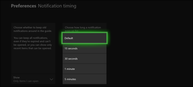 Xbox One Notification Duration
