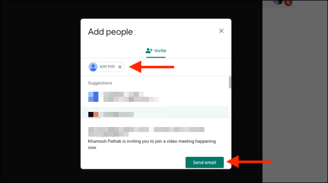 Add people and click on send Email
