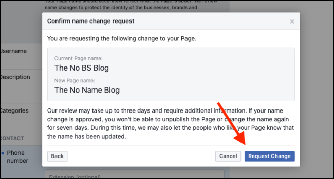 Click Request Change