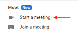 Google Meet section in Gmail sidebar