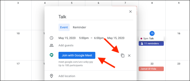 Join Google Meet from Google Calendar