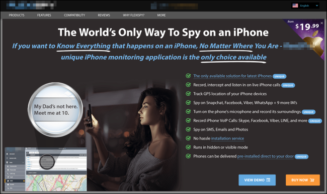 An ad for an iPhone spy software.