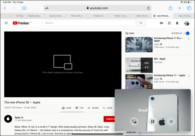 YouTube video playing in Picture-in-Picture mode