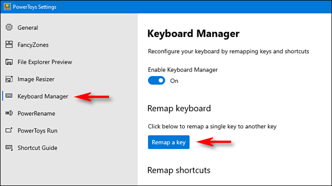 """Click """"Keyboard Manager"""" in the sidebar, and then click """"Remap a key."""""""
