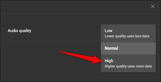 """Select the """"High"""" option"""