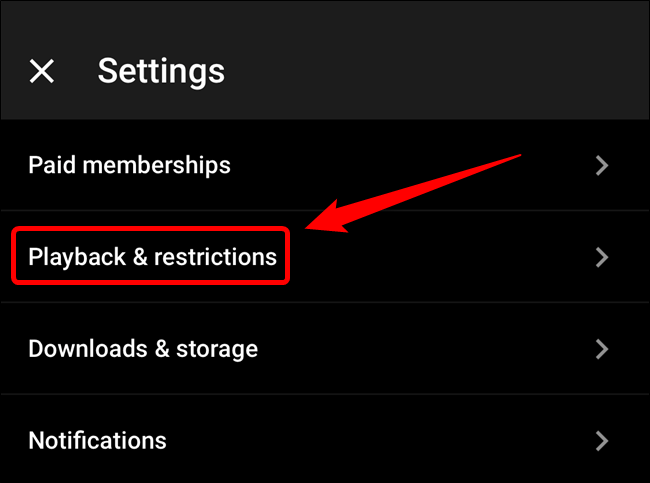 "Tap the ""Playback & Restrictions"" option"