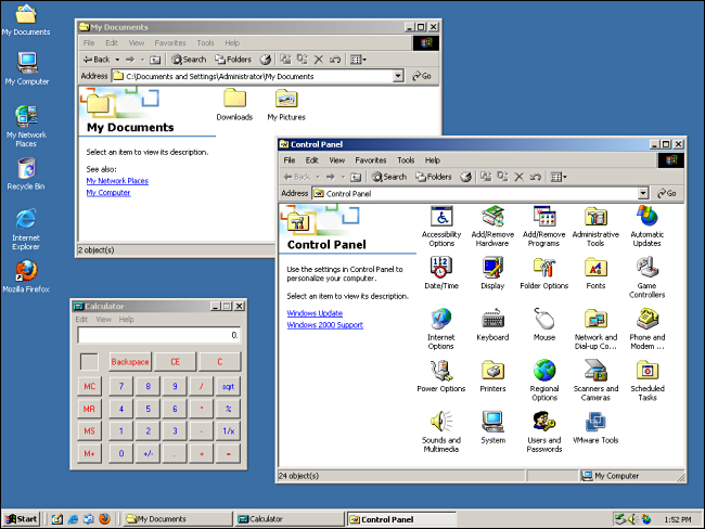 """My Documents,"" ""Control Panel,"" and ""Calculator"" opened on a Windows 2000 desktop."