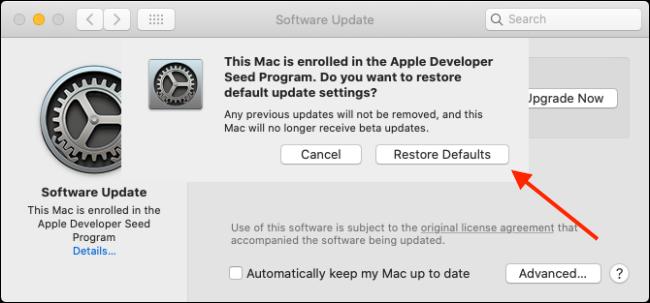 Click Restore Defaults