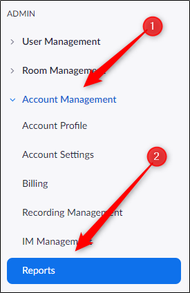 Reports option in account management tab