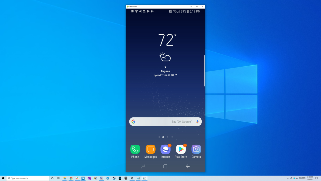 Mirroring a Samsung Galaxy phone's screen to a Windows 10 desktop over USB