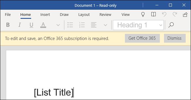 Word Mobile on a Windows 10 desktop PC