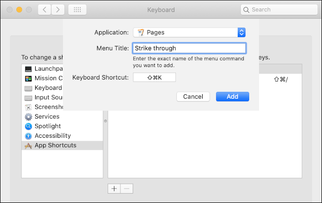 """A custom keyboard shortcut being created for the """"Pages"""" app in the """"Keyboard"""" menu."""