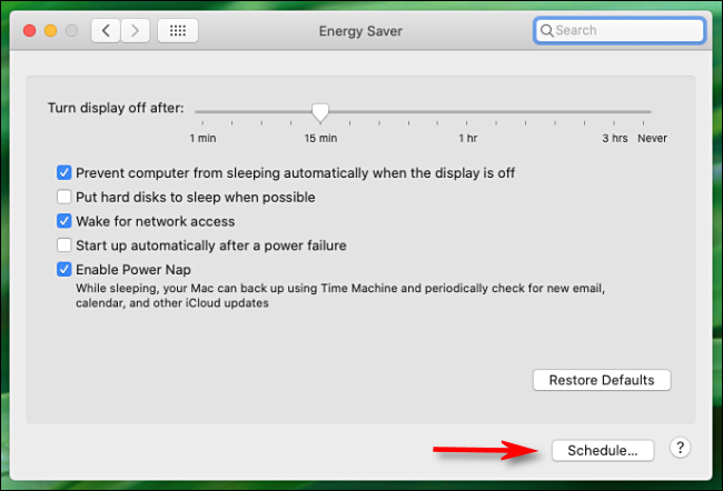 "Click ""Schedule"" in the ""Energy Saver"" menu."