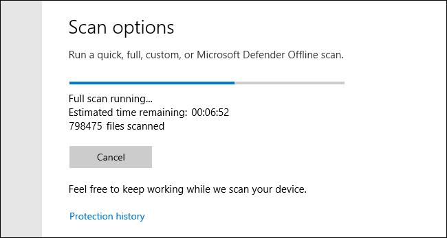 Microsoft Defender Full Scan in Progress on Windows 10