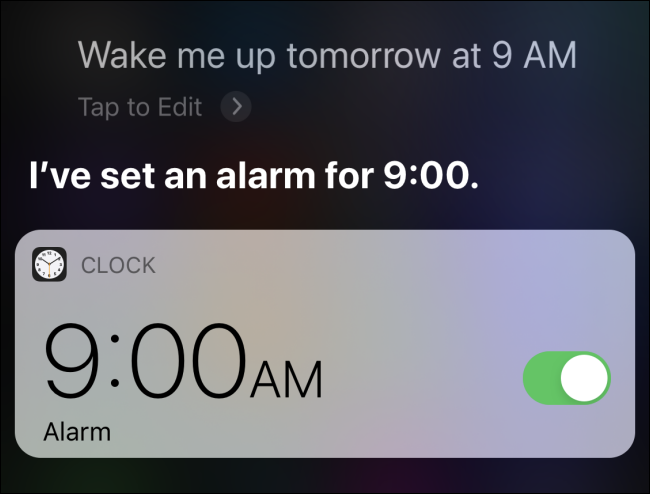 Setting an alarm on iPhone using Siri
