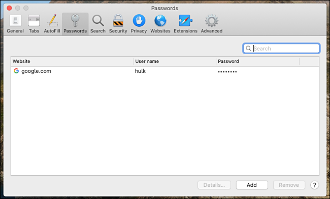 A list of stored passwords in Safari for Mac