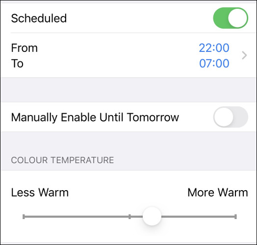 "The ""Night Shift"" menu on iOS."