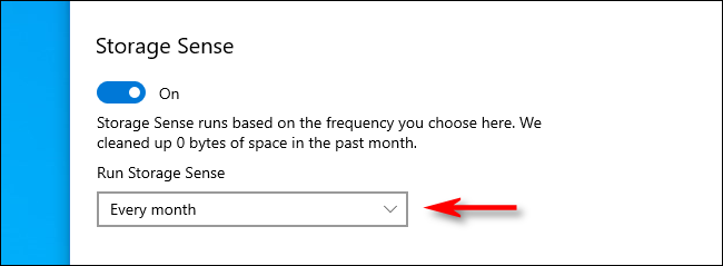 Select Storage Sense Run Interval in Windows 10 Settings