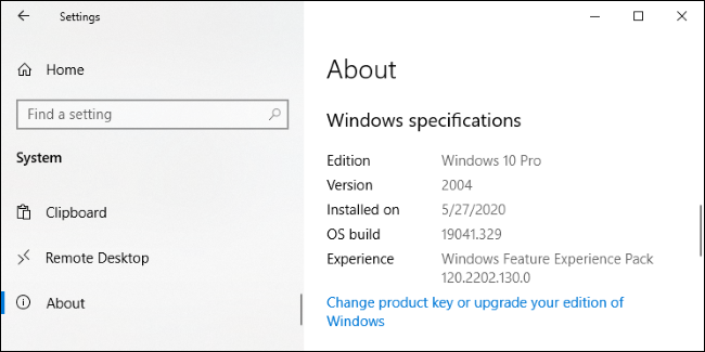 Windows 10's Settings > System > About screen.