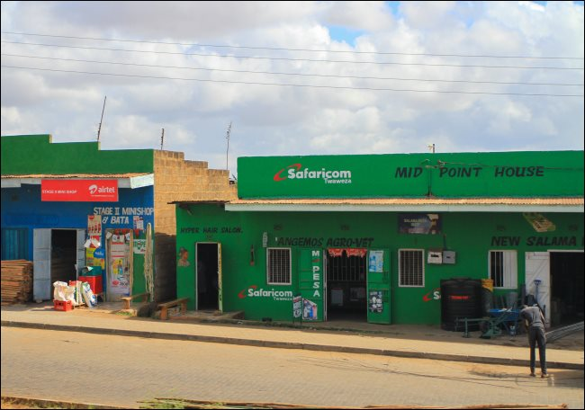 A Safaricom shop with an M-Pesa sign in Kenya.
