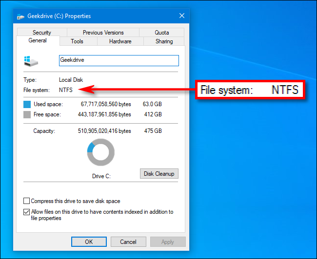 Viewing a drive's file system in the Properties window in Windows 10