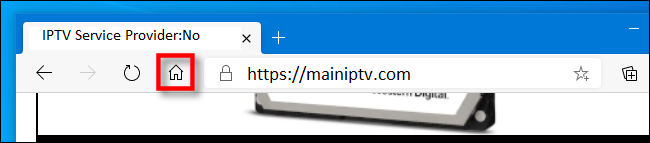 The Home Page icon in the Edge toolbar.