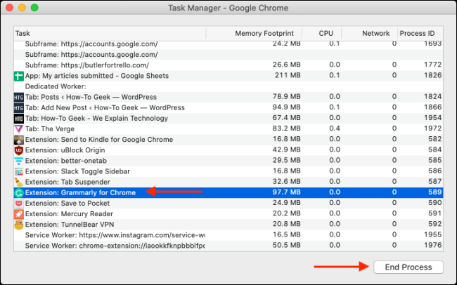 End Process in Task Manager in Chrome