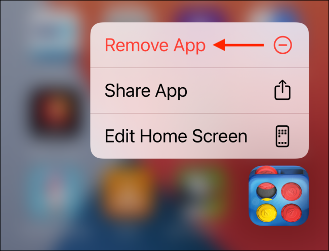 Tap Remove App from the app menu