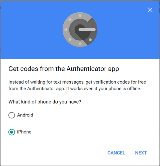 "The Google Authenticator screen where you choose ""Android"" or 'iPhone."""