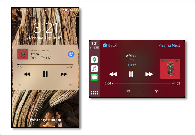 An image of a music app playing a song on an iPhone next to another image of the same song playing on a CarPlay display.