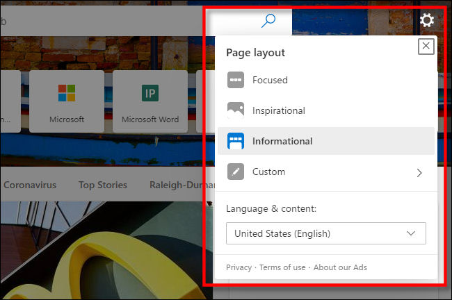 The New Tab customization menu in Microsoft Edge.