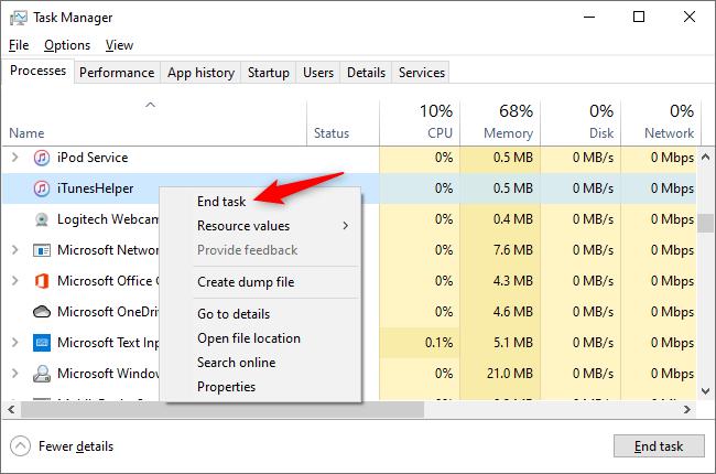 End iTunes Helper task in Task Manager.