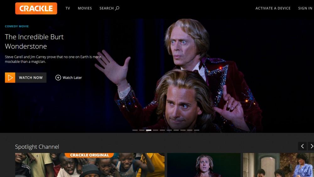 A screenshot of the Crackle homepage.