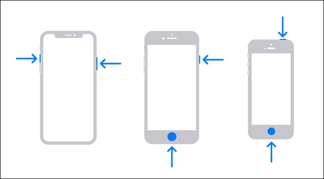 Diagram of the buttons to press to take a screenshot on three iPhone models.