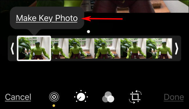 "Tap ""Make Key Photo"" in Photos on iPhone."