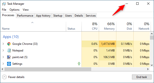 Minimizing the Task Manager and hiding it from Windows 10's taskbar.