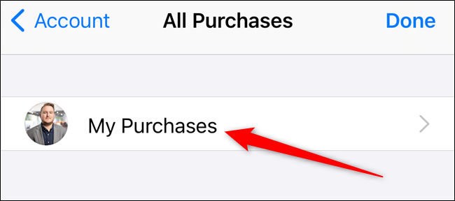 """Tap the """"My Purchases"""" option"""