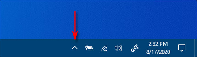 Click the carat-shaped arrow in the taskbar notification area to see hidden icons in Windows 10.
