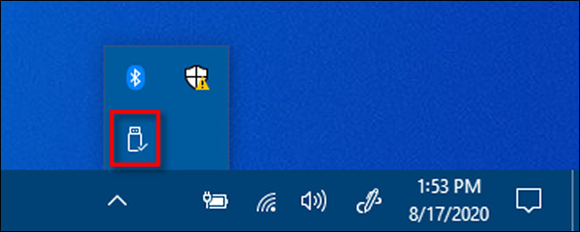 Right-click the Safely Remove Hardware icon in Windows 10.