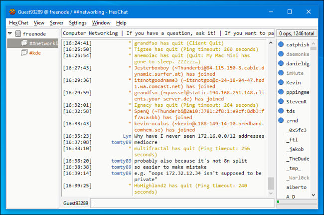 An IRC chat channel in HexChat for Windows.